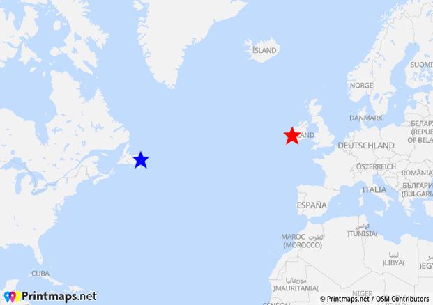 Karte Valentia Island nach St. John's